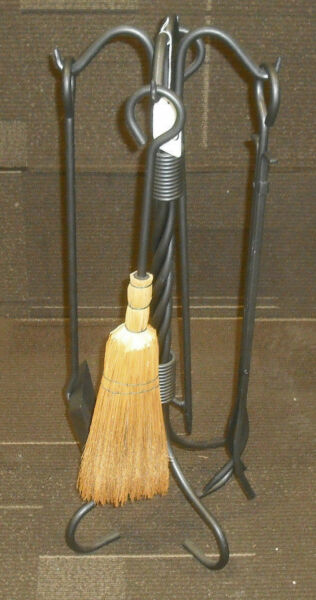 Stoll Charcoal 5 Piece Twisted Rope Fireplace Tool Set