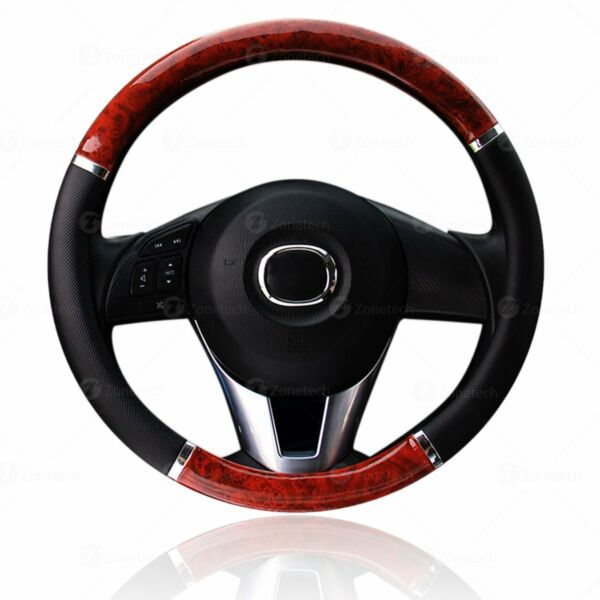 Zone Tech Wood Grain Steering - Wheel Cover Car Truck Van SUV Black PU Leather