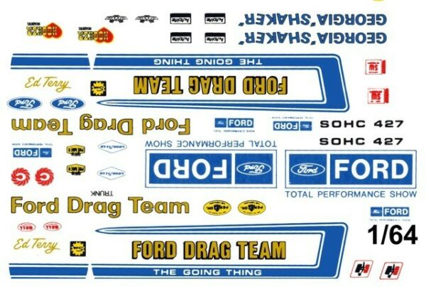 Official FORD Drag Team 164th HO Scale Slot Car Waterslide Decals