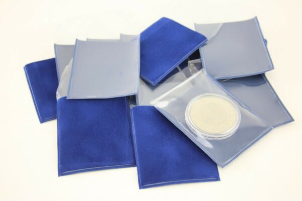 Coingallery Deluxe Blue Velvet Backed Clear Fronted Large Coin & Medal Wallets