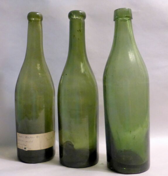 3 Antique 1800's Green Glass 9.5