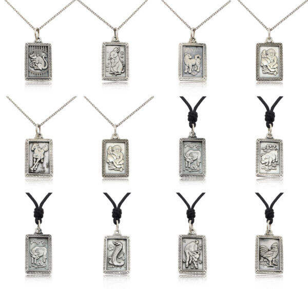 Rectangle Chinese Zodiac 92.5 Sterling Silver Pewter Gold Brass Necklace Pendant