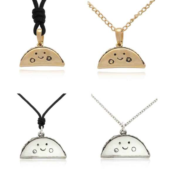 Lovely Tacos Size M & S Silver Pewter Gold Brass Charm Necklace Pendant Jewelry