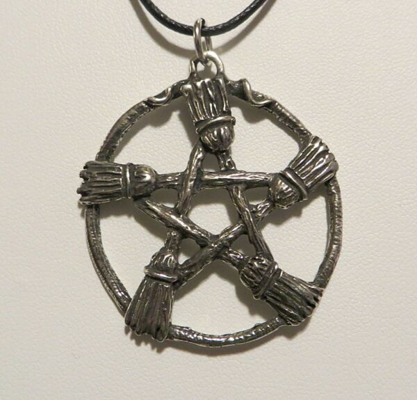 BESOMBROOM PENTACLE PENDANT NECKLACE PAGAN WICCA  BROOM HEARTH KITCHEN WITCH
