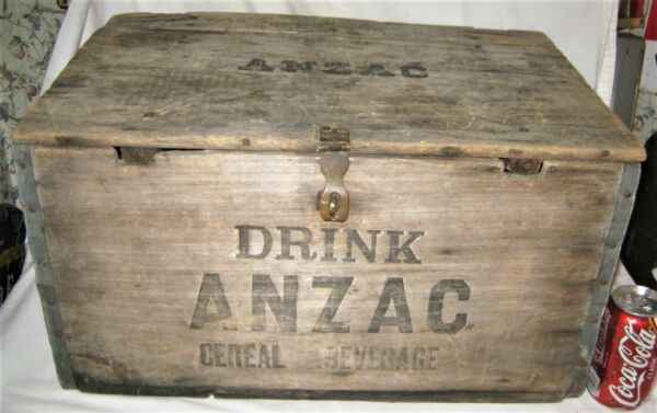 ANTIQUE 1919 USA ANZAC BOSTON BEER CEREAL BREWERY CO. BAR WOOD BOX CRATE TABLE
