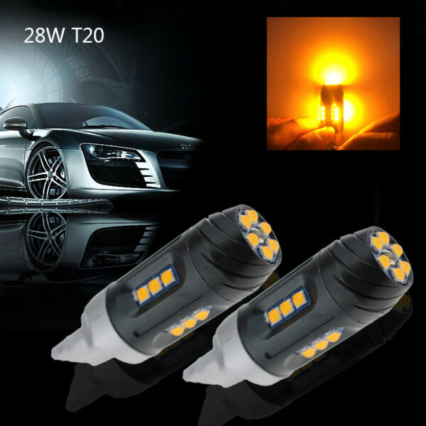 2x 28W 7440 W21W T20 LED Canbus Amber Turn Signal Light No Hyper Flash Taillight