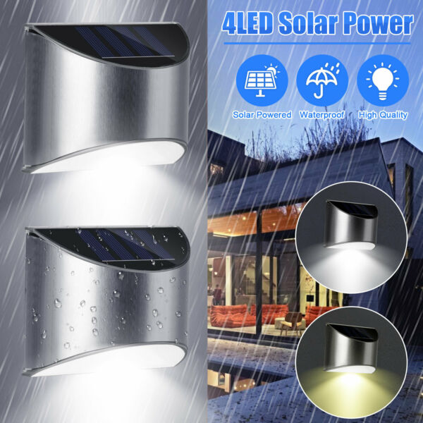Outdoor Solar 4 LED Deck Lights Path Garden Patio Pathway Stairs Step Fence Lamp $27.48