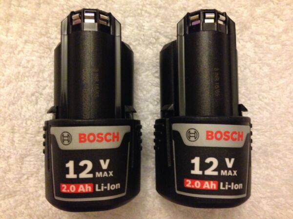 2 New Bosch BAT414 12 Volt 12V Max 2.0Ah Batteries Lithium Ion OEM