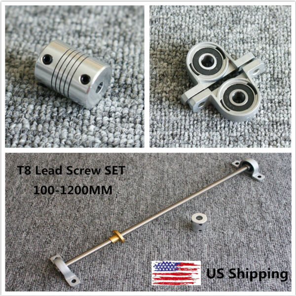 100 1200mm Lead 2 8mm 3D Printer T8 Lead Screw Set w Coupler amp; Bearing Support