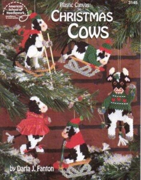 NEW PLASTIC CANVAS CHRISTMAS COWS ORNAMENTSMORE!!!