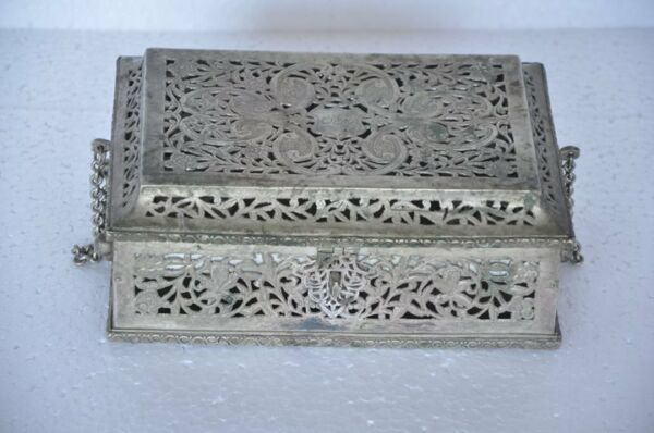Old Brass Handcrafted Jali Cut 7 Compartments Unique Betel Nut Box