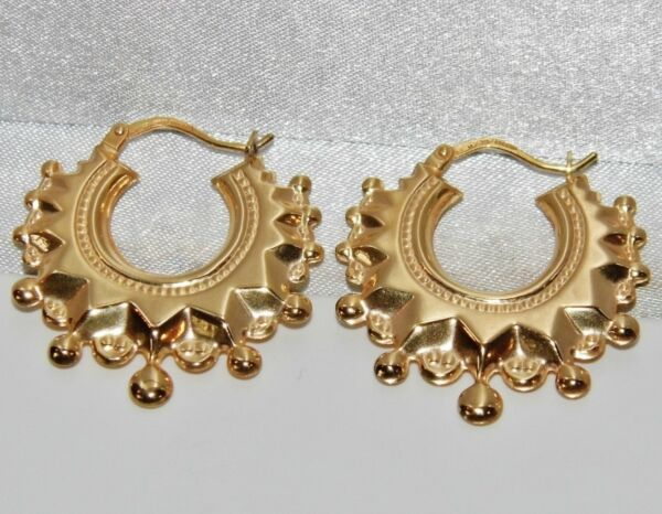 9ct Gold Victorian Design Spiked Large Creole Hoop Ladies Earrings GBP 95.00