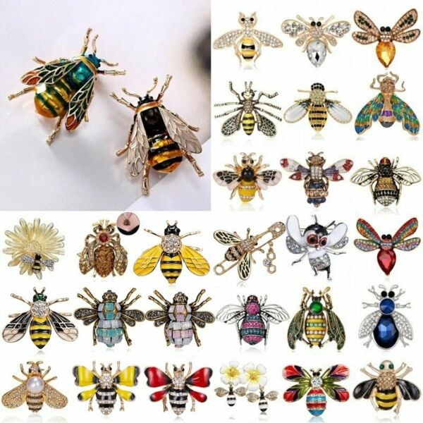 Fashion Crystal Pearl Bee Bird Butterfly Animal Brooch Pin Women Costume Jewelry