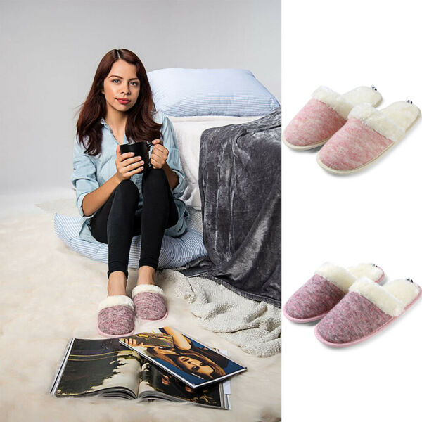 Aerusi Women Cozy Cable Knit Plush Slippers Memory Foam Winter Warm House Shoes  $14.95