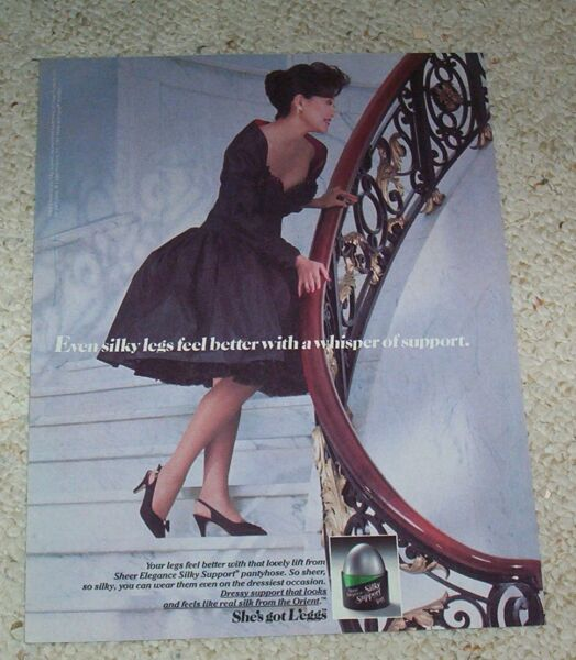 1988 ad page - L'eggs Sheer Elegance Silky Support pantyhose Sexy Girl ADVERT