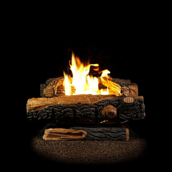 EMBERGLOW Natural Gas Fireplace Faux Logs Set Vent Free Indoor Heater Fire Pit