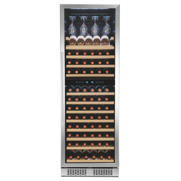 121-Bottle Touch Panel Dual Zone Wood Shelf Freestanding Compressor Wine Cooler