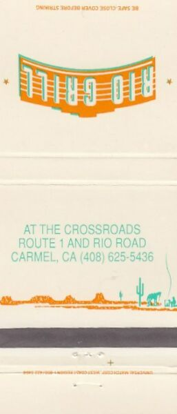 Rio Grill At the Crossroads Carmel California CA Vintage Matchcover