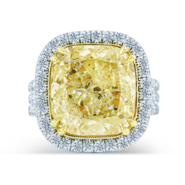11.58ct GIA Cushion 14K White Gold Halo Ring Fancy Light Yellow (2165655419)