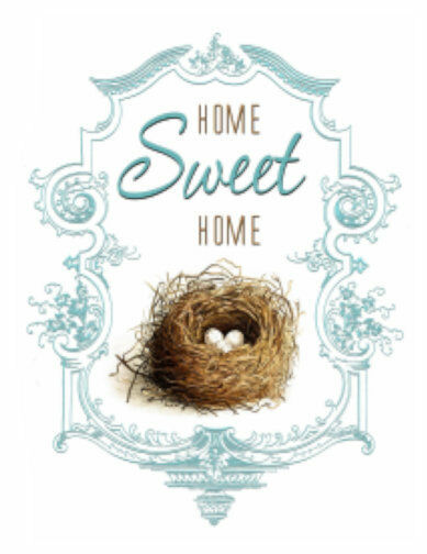Vintage Image French Home Sweet Home Bird Nest Furniture Transfers Decals MIS657