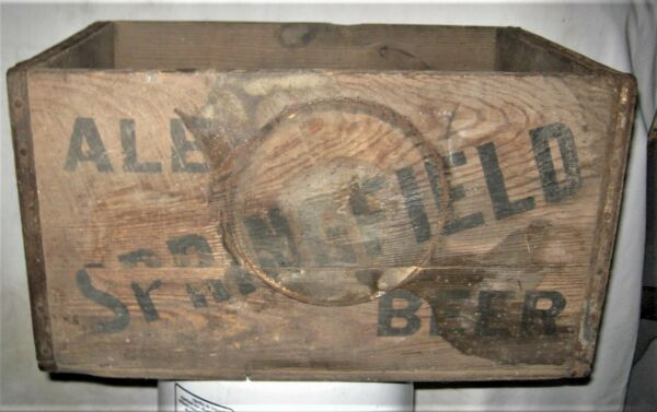 ANTIQUE SPRINGFIELD ALE MA USA BEER BREWING CO WOOD BOTTLE ART SIGN BOX CRATE US