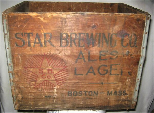 ANTIQUE STAR BREWING CO BOSTON MASS USA LAGER BEER ALE WOOD BOTTLE ART SIGN BOX