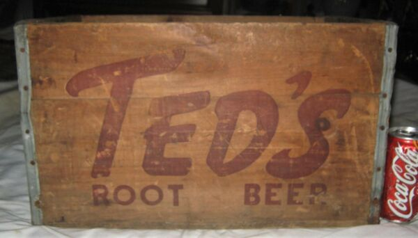 # 2 ANTIQUE COUNTRY TED'S ROOT BEER SODA WOOD BOX CRATE SIGN MOXIE BOSTON MA USA