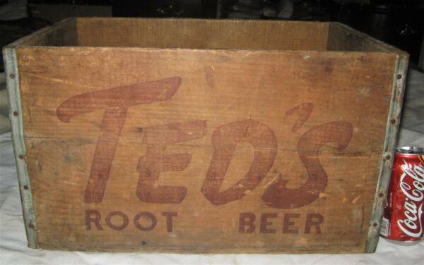 # 3 ANTIQUE COUNTRY TED'S ROOT BEER SODA WOOD BOX ART CRATE MOXIE BOSTON MA USA