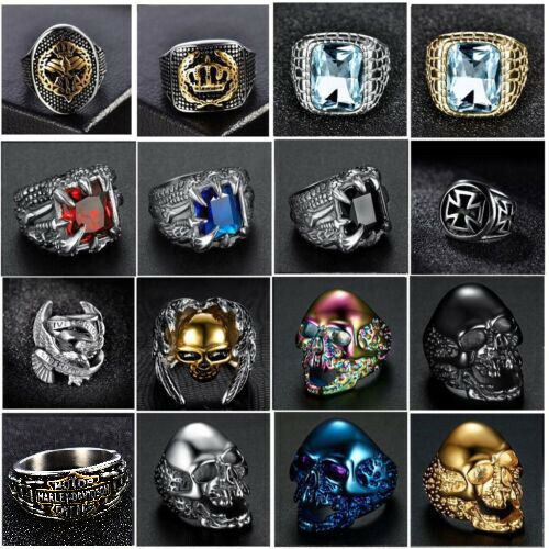 Silver Gold Stainless Steel Gothic Punk Biker Rings Fashion Mens Jewelry 8-15 US