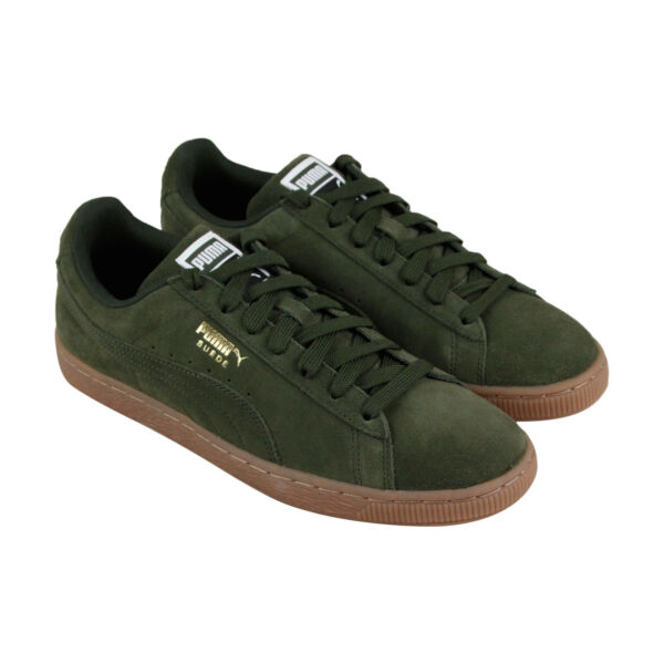 Puma Suede Classic Mens Green Suede Lace Up Sneakers Shoes