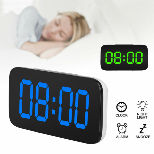 Alarm Clock Large Digital LED Display USBBattery Operated Sound Control Bedroom