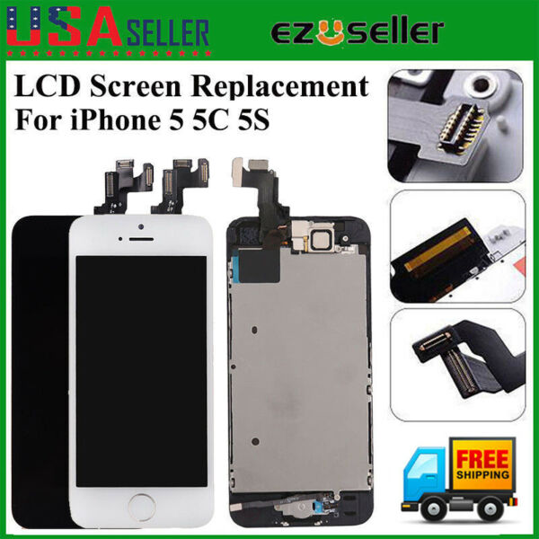 For iPhone 5 5C 5S LCD Touch Screen Replacement Full Assembly With Home Button