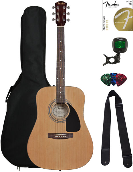 Fender FA-115 Dreadnought Acoustic Guitar - Natural w Gig Bag