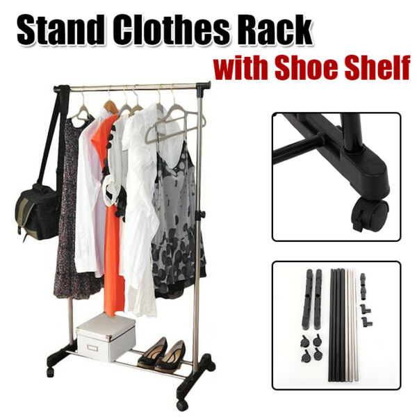 Heavy Duty Metal Clothes Rail With Shoe Rack Storage Hat Coat Stand