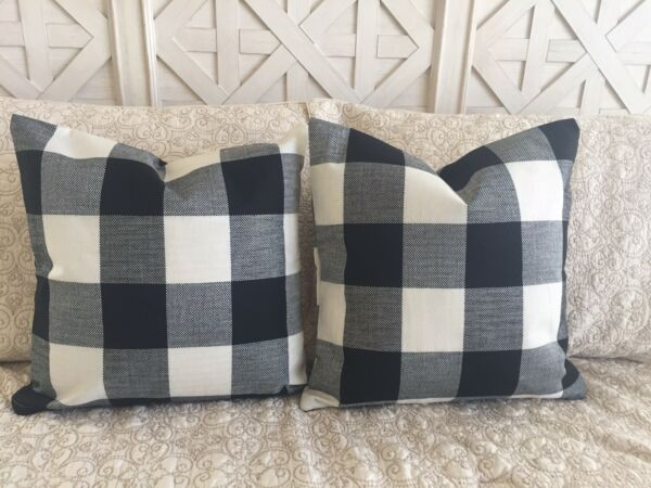2 Black Buffalo Check Pillow Covers Plaid Farmhouse 18