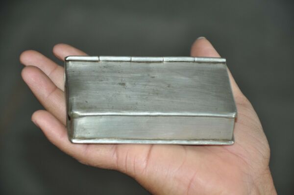 Old White Metal Book Shape Handcrafted Small Betel Nut Box