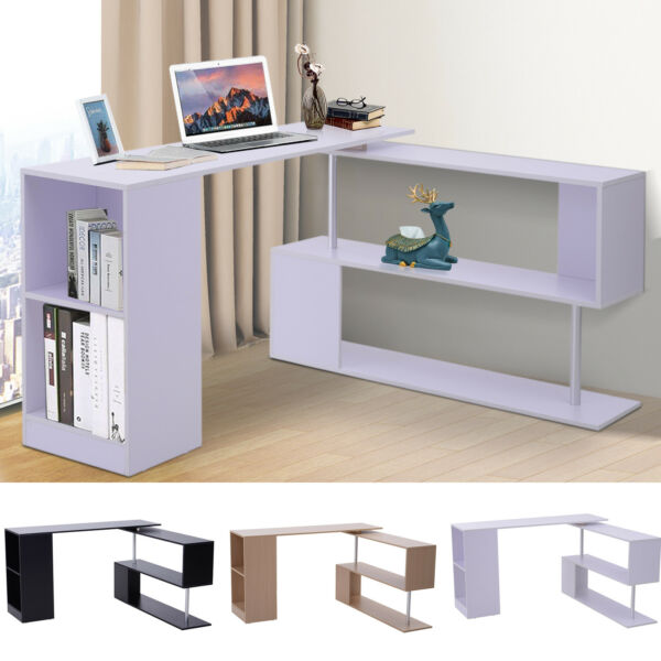 360° Rotating Corner Desk and Storage Shelf Combo L-Shaped Table Home Office