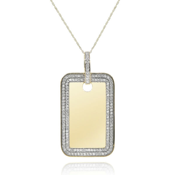 14K YELLOW GOLD 1.45C PAVE DIAMOND MILITARY DOG TAG PENDANT NECKLACE