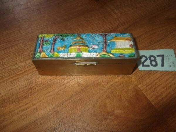 VINTAGE BRASS ENAMELED STAMP BOX CHINESE SCENE