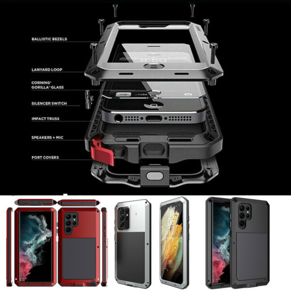 Shockproof Aluminum Heavy Duty Case Cover Samsung Note 10 Plus S10 S9 8 Note 9 8