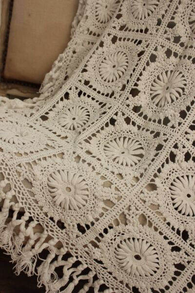 Vintage  French table cover  crochet textile handmade lace textile bed cover