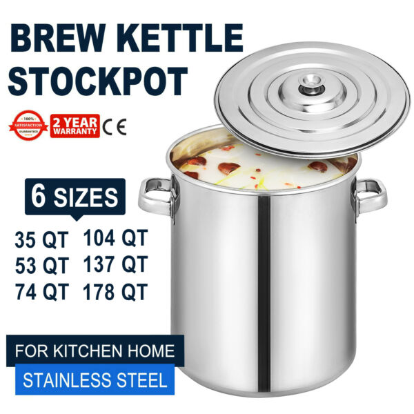 35L-170L qt Quart Stainless Steel Stock Pot Steamer Beer Brewing Kettle Tamale