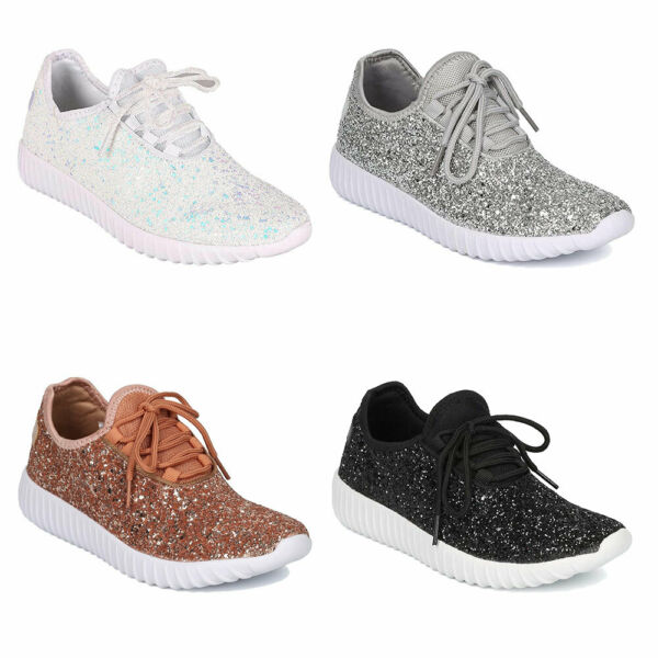 Women Lace up Fashion Sneakers Sparkle Slip On Wedge Platform Athletic Shoes