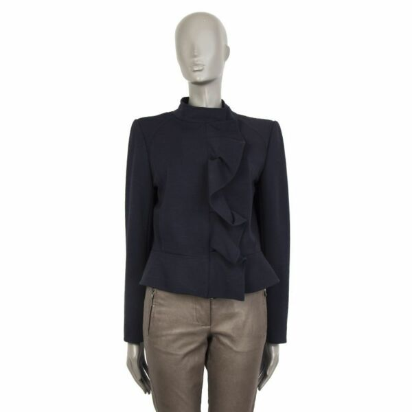 55889 auth VALENTINO blue wool RUFLLED ZIP FRONT Jacket 42 M