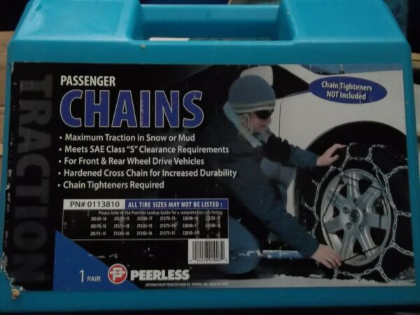 TIRE CABLE SNOW CHAINS PAIR OF PASSENGER PEERLESS 0113810 VEHICLE