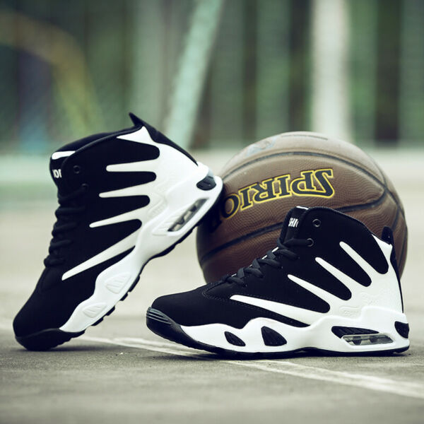 Men's Air Cushion Basketball Shoes Boots High Top Sports Sneakers Breathable Gym