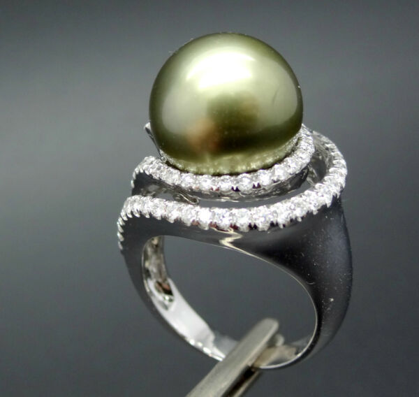 Giant 14mm South Sea Pearl Moss Green 18k Gold 1.08ct Diamond Ring WApp.