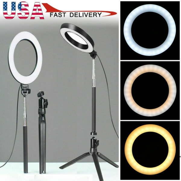 5500K LED Ring Light Kit With Stand Dimmable Makeup Phone Camera Selfie Lighting