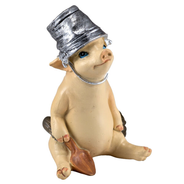 Mini Planting Pig With Shovel and Pail On Head Figurine 2.5