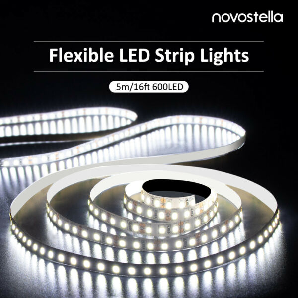 Ustellar Dimmable 600 LED SMD 2835 Light Strip Kit with Power Supply 6000K White